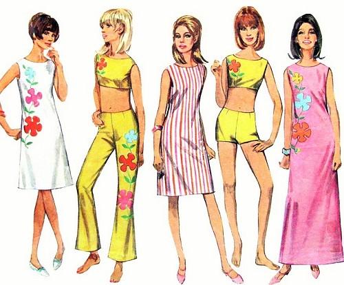 1960s MOD Beachwear Pattern SIMPLICITY 7017 Slim Dress In 2 Lengths ...