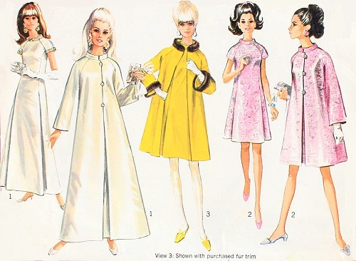 1960s LOVELY Evening Gown and Coat Pattern SIMPLICITY 7283  Formal or Cocktail Length Bust 34 Vintage Sewing Pattern