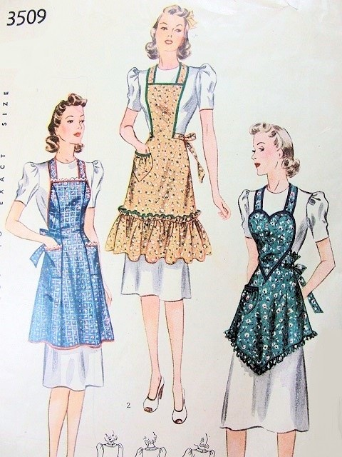 1940 Pretty Apron Pattern Simplicity 3509 Three Lovely War Time WW ...