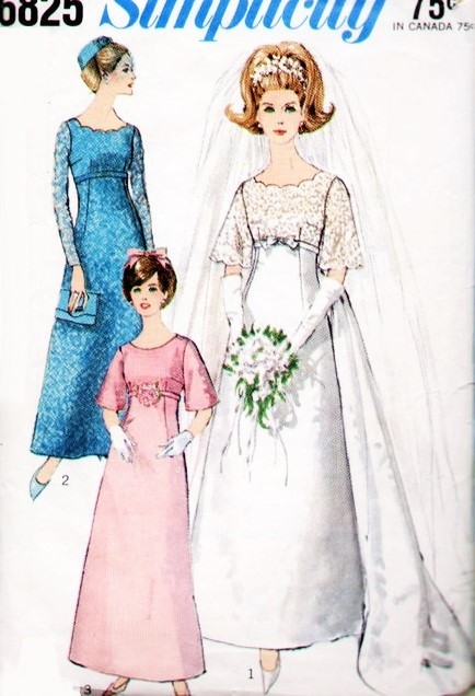 60s Beautiful Empire Wedding Gown Bridal Dress Pattern Simplicity ...