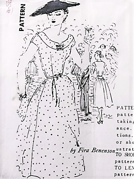 1950s BEAUTIFUL Dress Pattern SPADEA 1217 American Designer Fira Benenson Lovely Dress Day or Party Bust 38 Vintage Sewing Pattern
