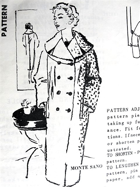 1950s CLASSY Monte Sano Coat Pattern SPADEA 1231 Lovely Large Cape Collar Straight Coat Bust 38 Vintage Sewing Pattern