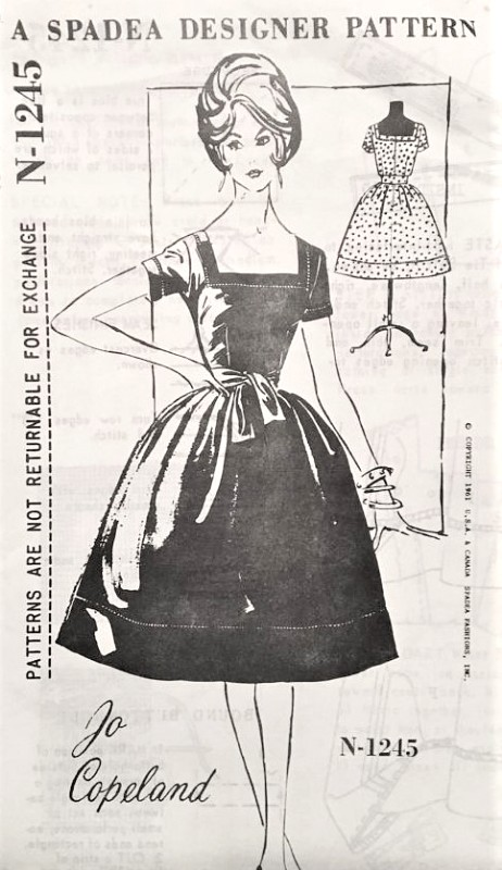 1950s LOVELY Jo Copeland Cocktail Party Dress Pattern SPADEA 1245 Square Neckline Bell Shape Skirt Evening Dress Bust 34 Vintage Sewing Pattern