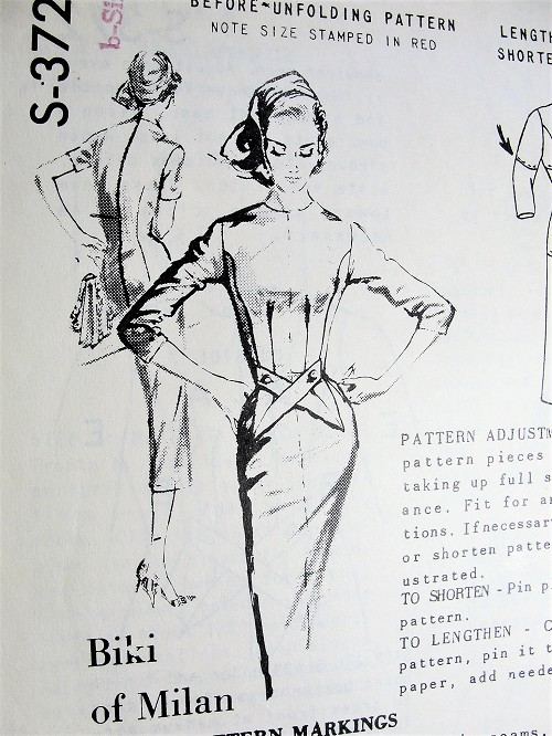 1950s CHIC Biki of Milan Slim Dress Pattern SPADEA 372 Slim BOMBSHELL Dress Daytime or After 5 Bust 40 Vintage Sewing Pattern