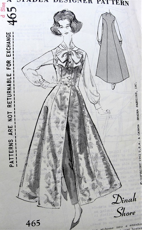 1960s GLAMOROUS Hostess Gown Coat Pattern SPADEA 465 Dinah Shore Elegant Evening Coat, Wear Over Slim Pants and Blouse Unique Design Bust 35 Vintage Sewing Pattern FACTORY FOLDED