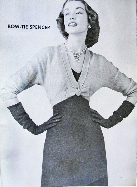 INSTANT PDF PATTERN 1950s Classy Bow Tie Spencer Knit Sweater Jacket Vintage Knitting Pattern
