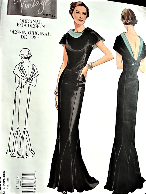 1930s VOGUE Vintage Model 2609 Out of Print Glamorous Art Deco Era Evening Gown Sewing Pattern Sizes: 12-14-16, Factory Folded Uncut
