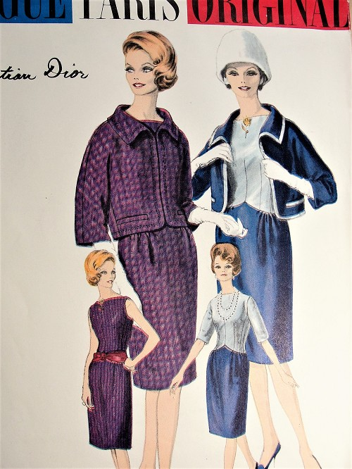1960s DIOR Classy Slim Dress and Jacket Pattern VOGUE Paris Original 1025 Beautiful Design Daytime or Cocktail Party Evening Dinner Theatre Bust 31 Vintage Sewing Pattern FACTORY FOLDED
