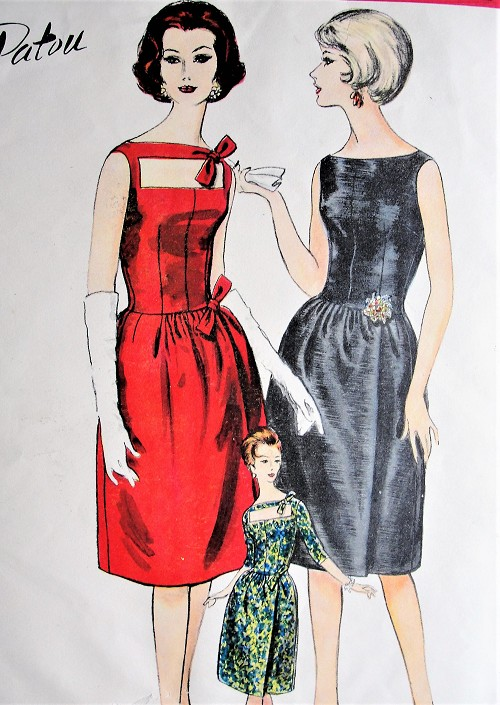 1960s GLAMOROUS Patou Cocktail Evening Party Dress and Petticoat Slip Pattern VOGUE Paris Original 1061 Three Beautiful Styles Bust 34 Vintage Sewing Pattern