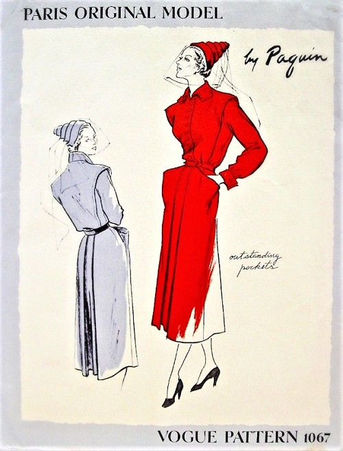 1940s RARE Paquin Tailored Dress Pattern VOGUE Paris Original Model 1067 Unique Large Pockets, Note The Lovely Design Features,Bust 36 Vintage Sewing Pattern