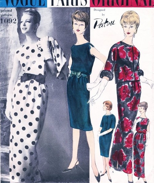 1960s CLASSY Patou Cocktail Party Dress Gown and Jacket Pattern VOGUE PARIS ORIGINAL 1092 Bateau Neckline Easy Evening Glamour Bust 36 Vintage Sewing Pattern FACTORY FOLDED