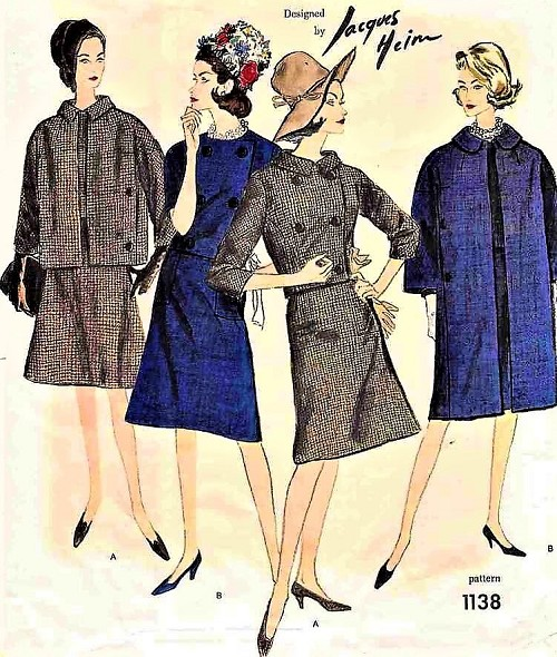 1950s STYLISH Jacques Heim Suit and Coat Pattern VOGUE Paris Original 1138 Double Breasted Jacket, Flared Skirt,Coat in 2 Style Versions Bust 32 Vintage Sewing Pattern