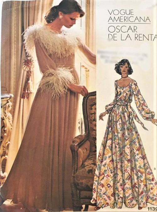 1970s Glam Oscar De La Renta Evening Gown Maxi Dress Pattern Vogue