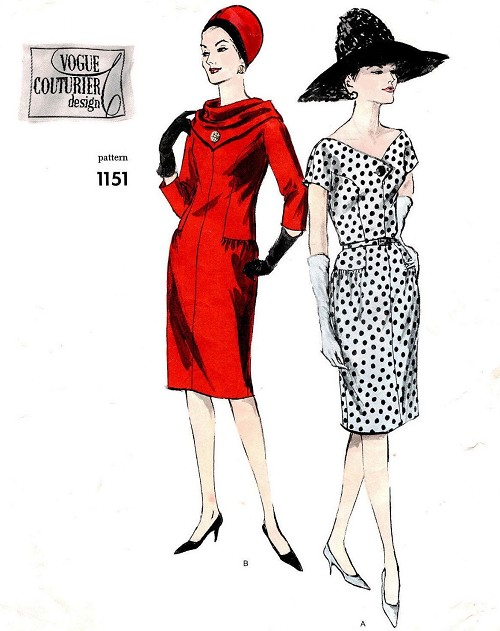 1960s CHIC Day or Cocktail Party Dress Pattern VOGUE Couturier Design 1151 Two Fabulous Styles, Includes Scarf Bust 34 Vintage Sewing Pattern FACTORY FOLDED + Label