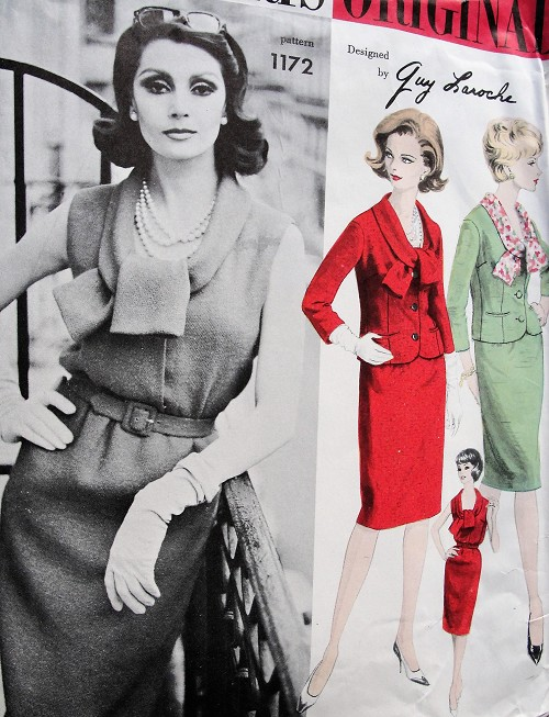 1960s FABULOUS Guy Laroche Slim Dress and Jacket VOGUE Paris Original 1172 Low Neckline Slim Dress Fitted Jacket, Day or Dinner After 5 Bust 34 Vintage Sewing Pattern FACTORY FOLDED