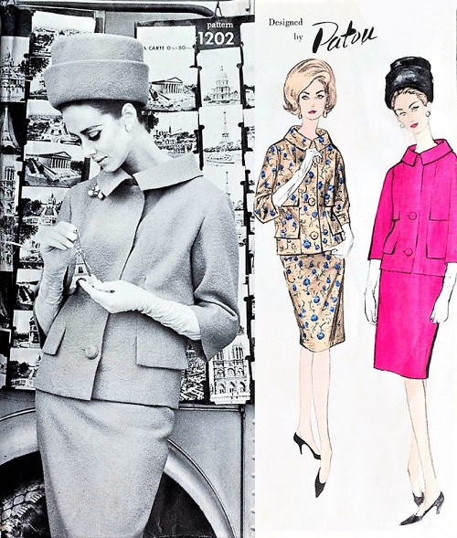 1960s ELEGANT Patou Slim Skirt Suit Pattern VOGUE Paris Original 1202 Boxy Jacket Slim Skirt Day or After 5 Suit Bust 32 Vintage Sewing Pattern FACTORY FOLDED