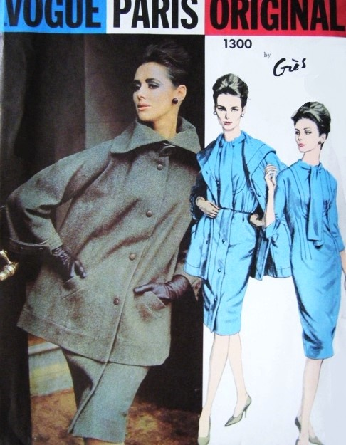 1960s Stylish GRES Dress and Suit Pattern VOGUE PARIS ORIGINAL 1300 Slim Dress and  Front Wrap Button Skirt  Kimono Sleeve Wide Collar Jacket Bust 34 Vintage Sewing Pattern