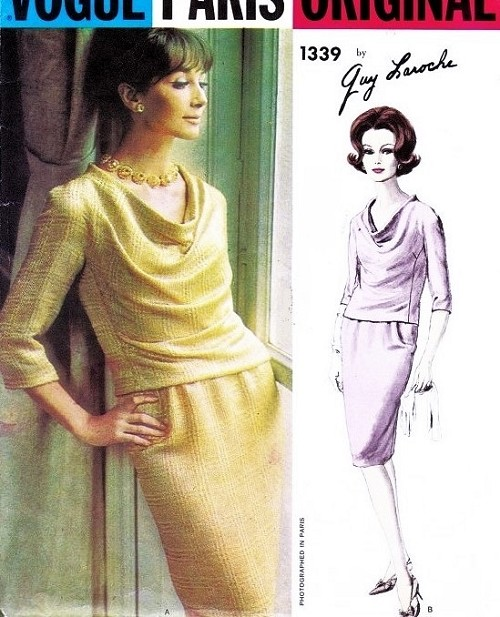 1960s Lovely GUY LAROCHE Draped Cowl 2 Pc Slim Dress Pattern VOGUE Paris Original 1339 Day or Evening Flattering Style Bust 34 Vintage Sewing Pattern FACTORY FOLDED