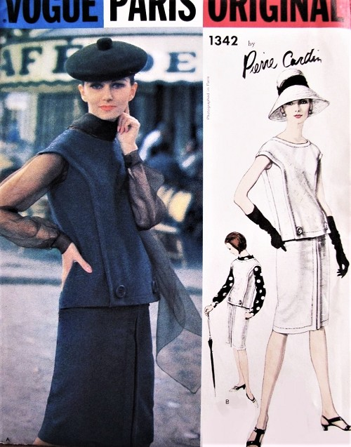CHIC 1960s CARDIN Slim 2 Pc Dress Blouse, Scarf Pattern VOGUE PARIS Original 1342 Slim Day or Cocktail Dress Bust 32 Vintage Sewing Pattern FACTORY FOLDED