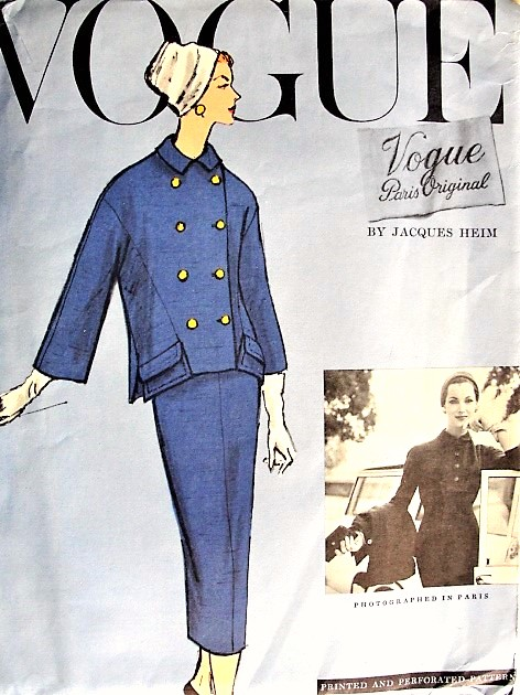 1950s CHIC Jacques Heim Slim Dress and Boxy Jacket Pattern VOGUE Paris Original 1356 Day or  Evening Cocktail Party Bust 34  Vintage Sewing Pattern FACTORY FOLDED
