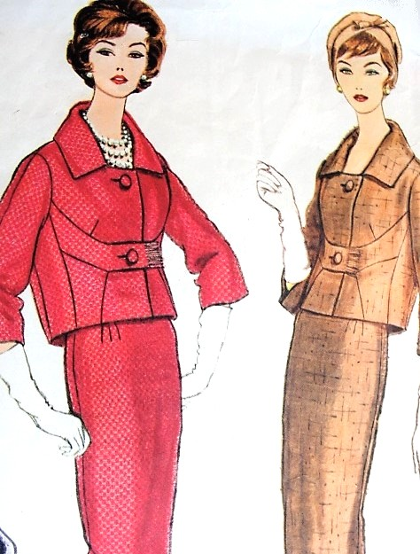 1950s CLASSY Fabiani Slim Skirt Suit Pattern VOGUE COUTURIER Design 142 Short Boxy Jacket With Seam Interest Daytime or After 5 Suit Bust 38 Vintage Sewing Pattern