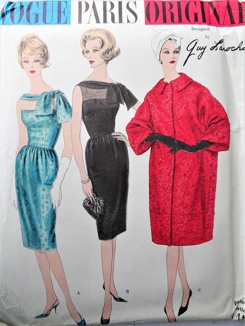 1960s STUNNING Laroche Cocktail Evening Dress and Boxy Coat Pattern VOGUE Paris Original 1492 Beautiful Design Bust 32 Vintage Sewing Pattern FACTORY FOLDED + Sew in Label