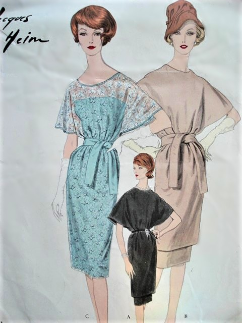 1950s CLASSY Jacques Heim Tunic Dress and Slip Day or Evening Cocktail Party Pattern VOGUE Paris Original 1493 Bust 34 Vintage Sewing Pattern