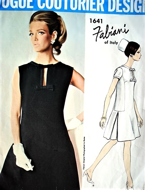 1960s CLASSY Mod FABIANI Cocktail Party Evening Dress Pattern VOGUE Couturier Design 1641 Bust 32 Vintage Sewing Pattern FACTORY FOLDED
