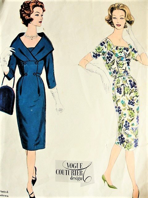 1950s CAPTIVATING Slim Day or Evening Dress Pattern VOGUE Couturier ...