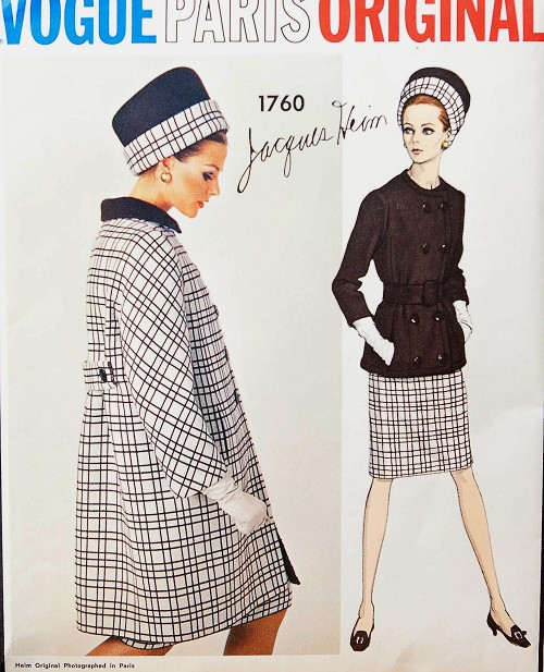 1960s FABULOUS Jacques Heim Suit and Coat Pattern VOGUE PARIS Original 1760 Bust 36 Vintage Sewing Pattern +Vogue Label
