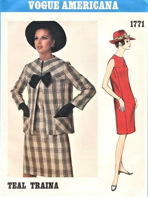 1960s MOD Slim Dress And Jacket Pattern VOGUE AMERICANA 1771 Easy Elegance Daytime Or Evening Bust 38 Vintage
