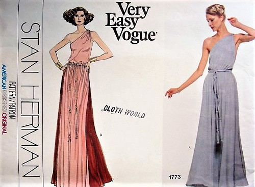 70s GLAM Grecian Goddess Gown Stan Herman Evening Gown Pattern VOGUE ...