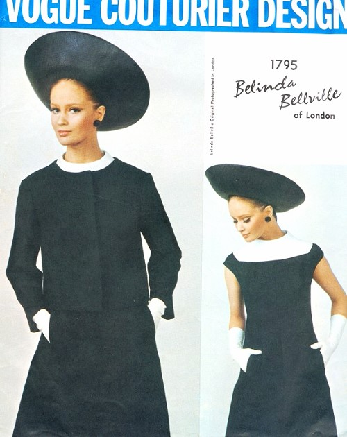 1960s BELINDA BELLVILLE Striking Dress and Jacket Pattern VOGUE COUTURIER DESIGN 1795 Day or Cocktail A Line Dress  and Fitted Jacket Bust 31 Vintage Sewing Pattern