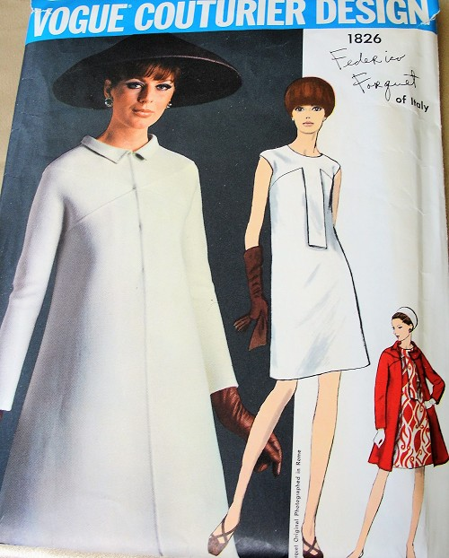 1960s MOD Frederico Forquet Dress and Coat Pattern VOGUE Couturier Design 1826 Stylish Slim Dress and Lovely Coat Day or Evening Cocktail Partty, Bust 34 Vintage Sewing Pattern + Label