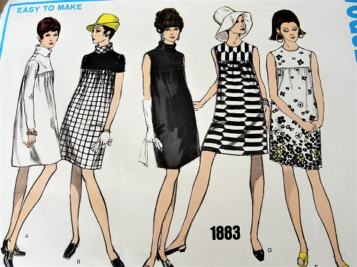 1960s FAB Empire Waist Dress Pattern VOGUE Basic Design 1883 Five Mod Style Versions Bust 34 Vintage Sewing Pattern FACTORY FOLDED