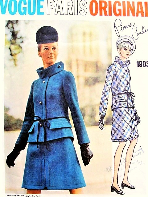1960s DRAMATIC Mod Pierre Cardin Suit Pattern VOGUE PARIS Original 1903 Ultra Mod Style B 36 RARE Vintage Sewing Pattern +Sew In Label