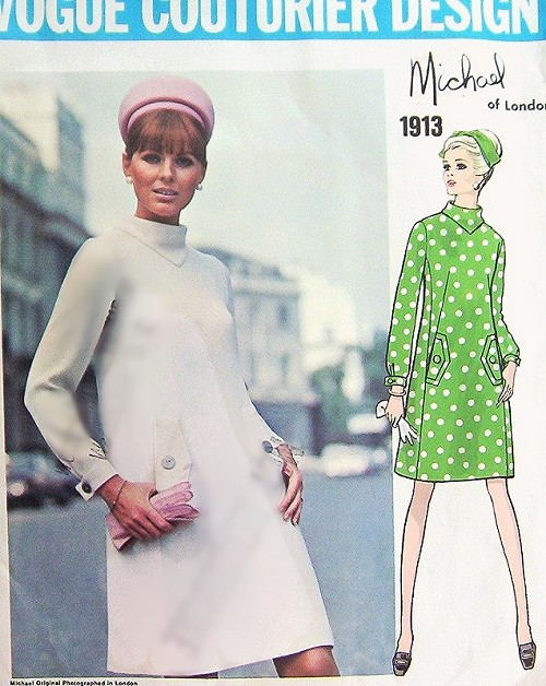 Mod 60s VOGUE COUTURIER Design 1913 Sewing Pattern Back Tied Cowl ...