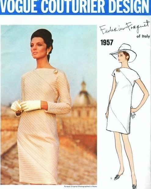 1960s STUNNING FEDERICO FORQUET Evening Cocktail Dress Pattern VOGUE COUTURIER DESIGN 1957 Straight Loose Fitting Dramatic DIAGONAL Seaming  BATEAU Neckline Bust 36 Vintage Sewing Pattern
