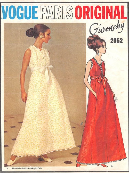 1960s GLAMOROUS Givenchy Evening Gown Dress Pattern VOGUE Paris Original 2052 V Neckline Princess Seamed A Line Gown, Net Petticoat Bust 36 Vintage Sewing Pattern