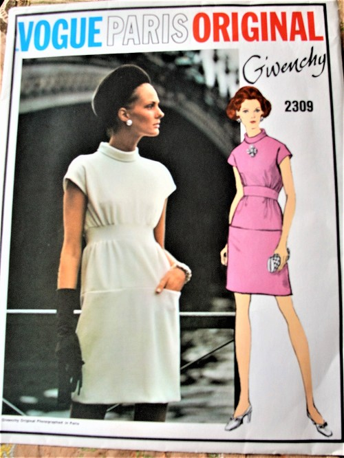 1960s LOVELY Givenchy Dress Pattern VOGUE Paris Original 2309 Unique Day or Cocktail Dinner Party Dress Bust 38 Vintage Sewing Pattern FACTORY FOLDED
