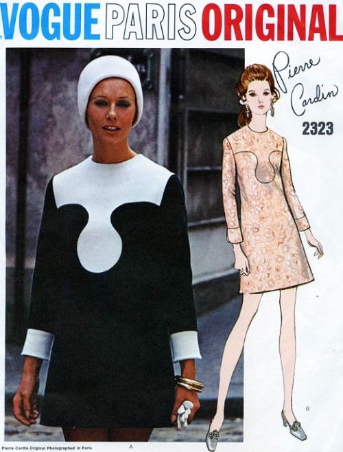 MOD 60s Pierre Cardin Mini Dress Pattern VOGUE PARIS ORIGINAL 2323 Striking Day or Cocktail Party Dress Vintage Sewing Pattern