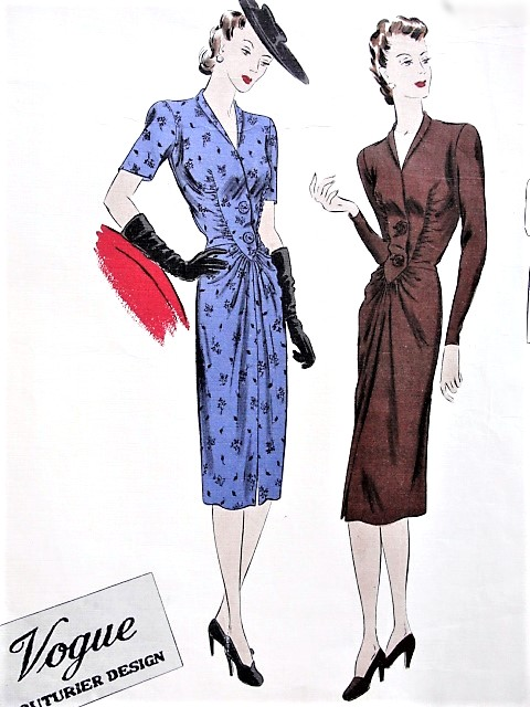 1940s STUNNING Dress Pattern VOGUE Couturier Design 261Pencil Slim Dress Gathered Front, Fab Style Bust 30 Vintage Sewing Pattern