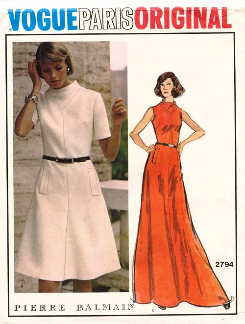 1970s LOVELY Balmain Dress Pattern VOGUE Paris Original 2794 Mid Knee or Evening Length, Easy Elegance  Bust 36 Vintage Sewing Pattern FACTORY FOLDED