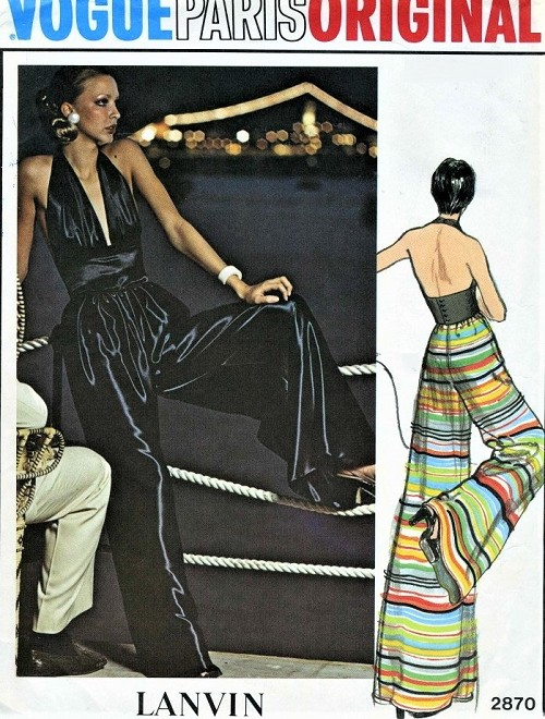 1970s LANVIN Evening Halter Top and Palazzo Pants Pattern VOGUE Paris Original 2870 Plunging V Neckline Top,Highwaist Wide Leg Palazzo Pants Bust 32 Vintage Sewing Pattern