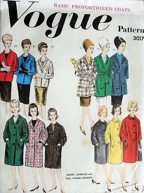 1960s CHIC Proportioned Coats  Jackets Pattern VOGUE 3017 Four Fab Designs Day or Evening Bust 40 Vintage Sewing Pattern