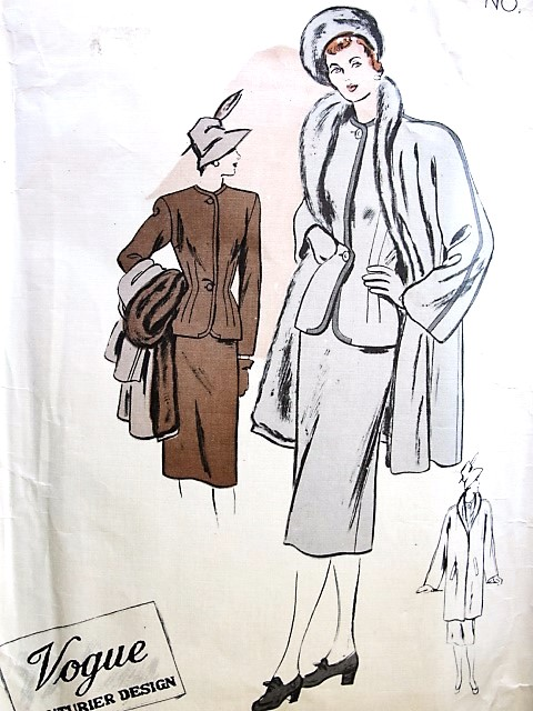 1940s FILM NOIR Suit and Coat Pattern VOGUE COUTURIER Design 318 Slim Skirt Fitted Jacket Tuxedo Collar FUR LINED Coat Jacket Bust 32 Forties Couture Vintage Sewing Pattern