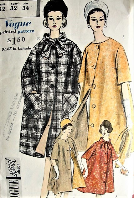 1960 ELEGANT Reversible Coat Pattern VOGUE Special Design 4137 Very WETHERALL Design Flared Reversible Coat Fabulous Style Bust 32 Vintage Sewing Pattern