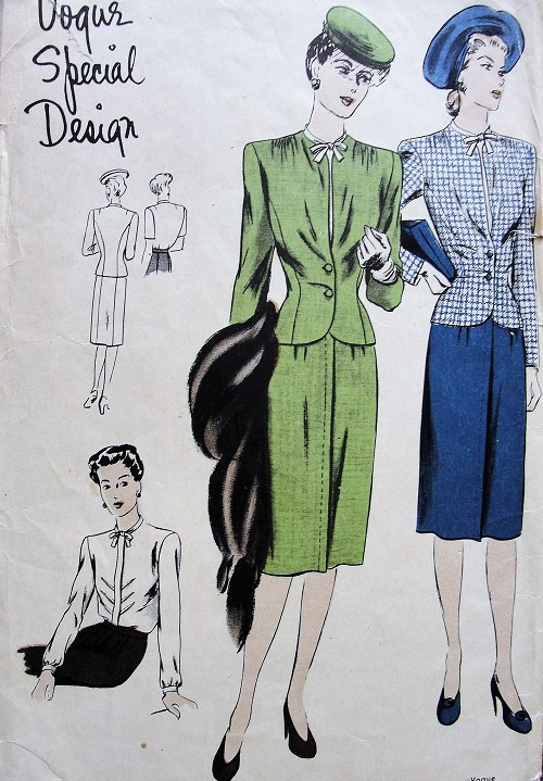 1940s FAB Nip In Waist Suit and Blouse Pattern VOGUE Special Design 4448  Lovely Slim Skirt, Fitted Jacket and Beautiful Tuck in Blouse Bust 34 Vintage Sewing Pattern