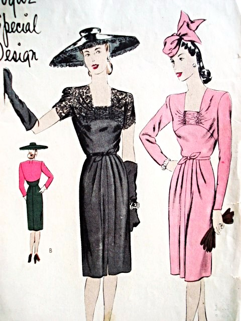 1940s BEAUTIFUL Cocktail Party Dress VOGUE SPECIAL DESIGN 4474 Figure Flattering Style Daytime or Evening Bust 34 Vintage Sewing Pattern