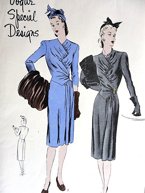 1940s DRAMATIC Dress Pattern VOGUE Special Design 4490 Unique Zig Zag Gathered Bodice,Slim Skirt Side Drape Very Stunning Style Bust 30 Vintage Sewing Pattern